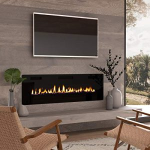 Cloud Mountain 60 Electric Fireplace Recessed 386 Ultra Thin Insert Wall Mounted and in Wall Easy Installation with Remote Control 750W1500W Low Noise Fake Fire 0