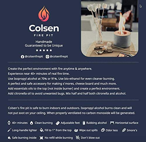 Colsen Tabletop Rubbing Alcohol Fireplace Indoor Outdoor Fire Pit Portable Fire Concrete Bowl Pot Fireplace 0 0