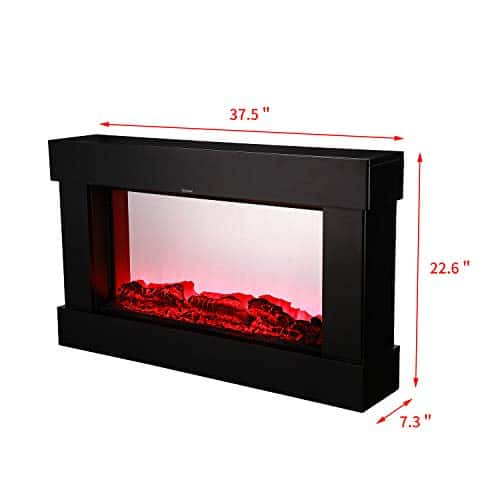 DOIT 38Inch Large Embedded Electric Color Changing Room FireplaceInsertCorner Space Heater wRemote Control Glass View Real Flame Color Options 1500W 0 0