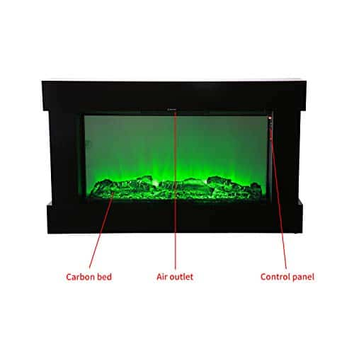 DOIT 38Inch Large Embedded Electric Color Changing Room FireplaceInsertCorner Space Heater wRemote Control Glass View Real Flame Color Options 1500W 0 1
