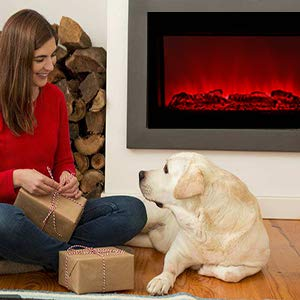 DOIT 38Inch Large Embedded Electric Color Changing Room FireplaceInsertCorner Space Heater wRemote Control Glass View Real Flame Color Options 1500W 0 4