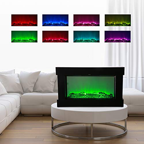 DOIT 38Inch Large Embedded Electric Color Changing Room FireplaceInsertCorner Space Heater wRemote Control Glass View Real Flame Color Options 1500W 0