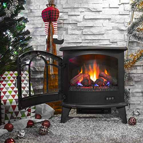 Della 1400W Electric Stove Heater Portable Fireplace 20 Freestanding Indoor Living Room Flame Log Wood wRemote Control 0 0