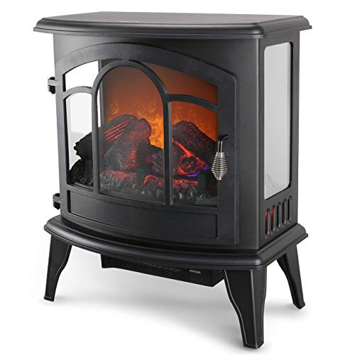 Della 1400W Electric Stove Heater Portable Fireplace 20 Freestanding Indoor Living Room Flame Log Wood wRemote Control 0 1