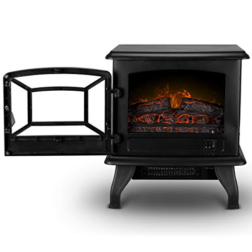 Della 17 Freestanding Portable Electric Fireplace Stove Infrared Quartz Realistic 3D Flames Firebox wLogs Heater CSA Certified 1400 Watts Black 0 0