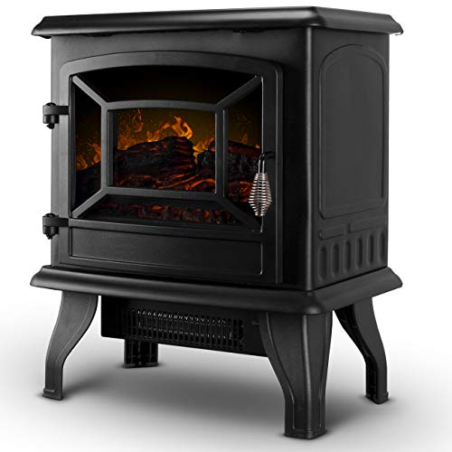 Della 17 Freestanding Portable Electric Fireplace Stove Infrared Quartz Realistic 3D Flames Firebox wLogs Heater CSA Certified 1400 Watts Black 0