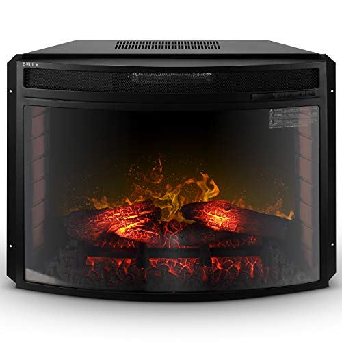 Della BELLEZE 28 Curved Glass Insert Fireplace Electric Heater Embedded Flame Log Wall Mount 1400W wRemote 0 0