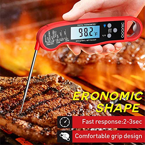 Digital Instant Read Meat Thermometer Adoric Waterproof Food Thermometer with Backlight LCD Kitchen Cooking Thermometer Probe for Grilling Oven Smoker BBQRed 0 0
