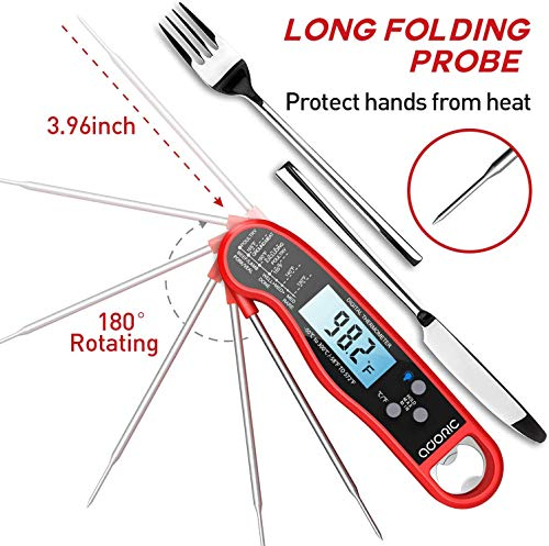 Digital Instant Read Meat Thermometer Adoric Waterproof Food Thermometer with Backlight LCD Kitchen Cooking Thermometer Probe for Grilling Oven Smoker BBQRed 0 2