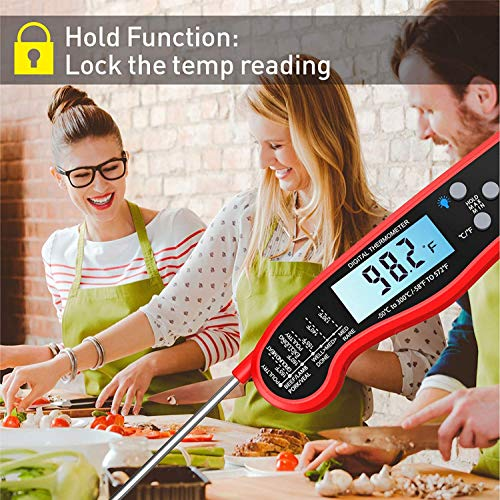 Digital Instant Read Meat Thermometer Adoric Waterproof Food Thermometer with Backlight LCD Kitchen Cooking Thermometer Probe for Grilling Oven Smoker BBQRed 0 4