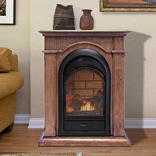 Duluth Forge Dual Fuel Ventless Fireplace Insert Mantel 15000 BTU T Stat Toasted Almond Finish 0 0