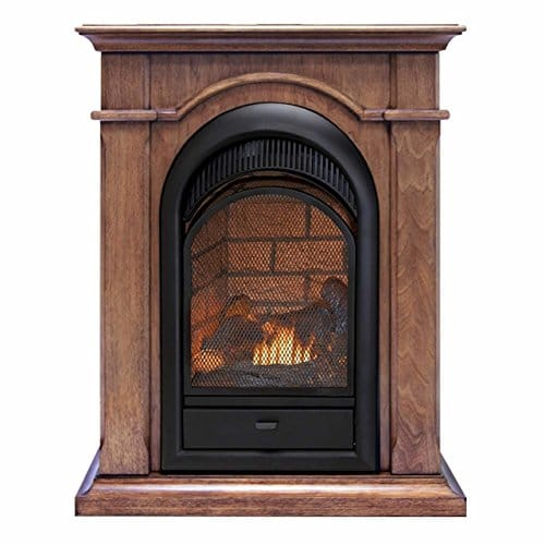 Duluth Forge Dual Fuel Ventless Fireplace Insert Mantel 15000 BTU T Stat Toasted Almond Finish 0