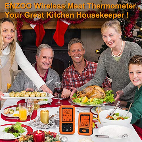 ENZOO Wireless Meat Thermometer for Grilling Ultra Accurate Fast Digital Meat Thermometer for Smoking with 4 Probes 500FT 178 WideView Meat Thermometer for Smoker BBQ Carring Case Included 0 0