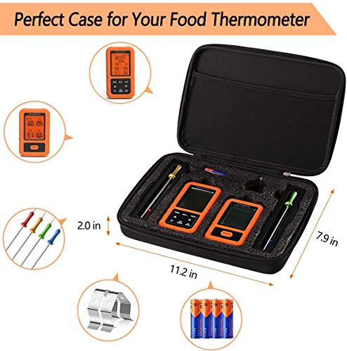 ENZOO Wireless Meat Thermometer for Grilling Ultra Accurate Fast Digital Meat Thermometer for Smoking with 4 Probes 500FT 178 WideView Meat Thermometer for Smoker BBQ Carring Case Included 0 1