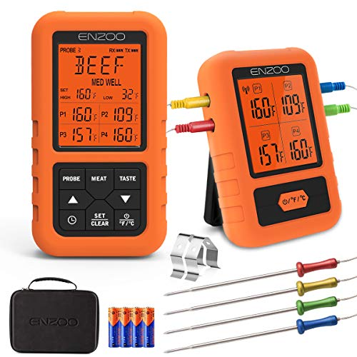 ENZOO Wireless Meat Thermometer for Grilling Ultra Accurate Fast Digital Meat Thermometer for Smoking with 4 Probes 500FT 178 WideView Meat Thermometer for Smoker BBQ Carring Case Included 0