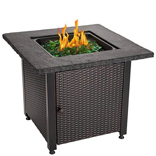 Endless Summer 30 Outdoor Propane Gas Rock Top Fire Pit Green Fire Glass 0