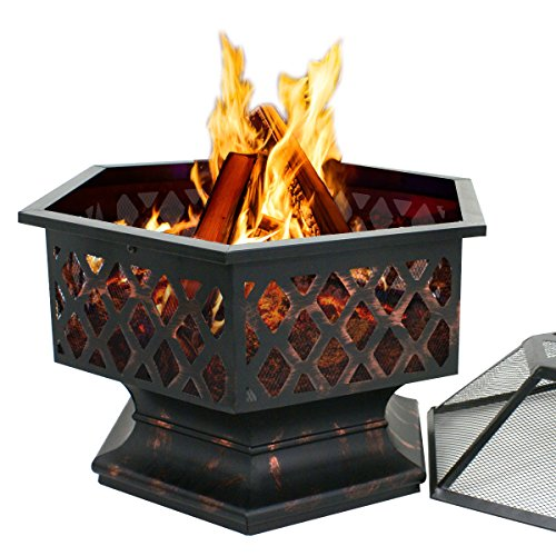 F2C Outdoor Heavy Steel 24 inch Fire Pit Wood Burning Fireplace Patio Backyard Heater Steel Hex Shaped Firepit Bowl 0 0