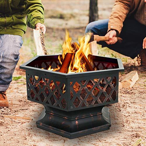 F2C Outdoor Heavy Steel 24 inch Fire Pit Wood Burning Fireplace Patio Backyard Heater Steel Hex Shaped Firepit Bowl 0 1