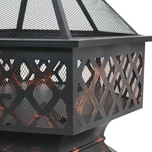 F2C Outdoor Heavy Steel 24 inch Fire Pit Wood Burning Fireplace Patio Backyard Heater Steel Hex Shaped Firepit Bowl 0 4