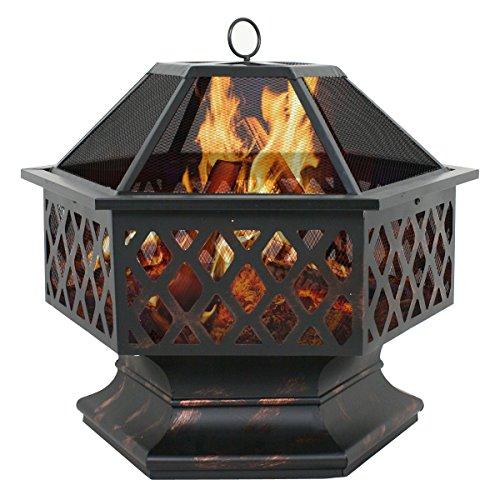 F2C Outdoor Heavy Steel 24 inch Fire Pit Wood Burning Fireplace Patio Backyard Heater Steel Hex Shaped Firepit Bowl 0