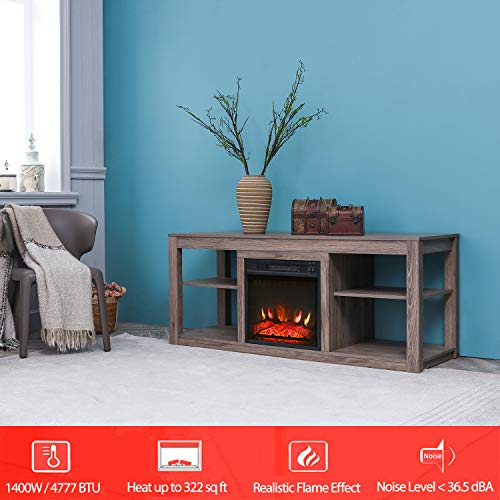 Festival Depot 50 Wide TV Stand with Electric Fireplace Console for TVs up to 60for Living Room 50 inch Light Grey 0 0