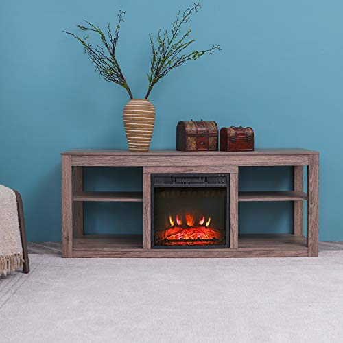 Festival Depot 50 Wide TV Stand with Electric Fireplace Console for TVs up to 60for Living Room 50 inch Light Grey 0 3