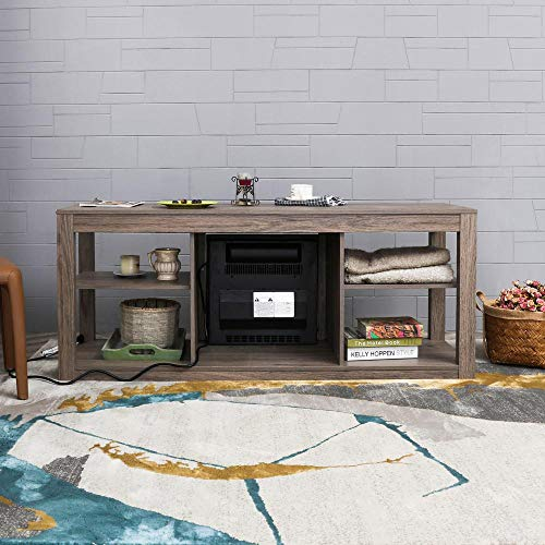 Festival Depot 50 Wide TV Stand with Electric Fireplace Console for TVs up to 60for Living Room 50 inch Light Grey 0 4