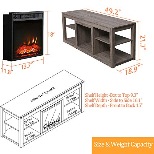 Festival Depot 50 Wide TV Stand with Electric Fireplace Console for TVs up to 60for Living Room 50 inch Light Grey 0 5