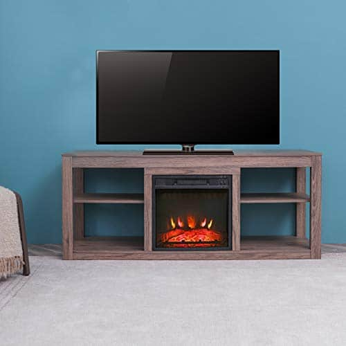 Festival Depot 50 Wide TV Stand with Electric Fireplace Console for TVs up to 60for Living Room 50 inch Light Grey 0