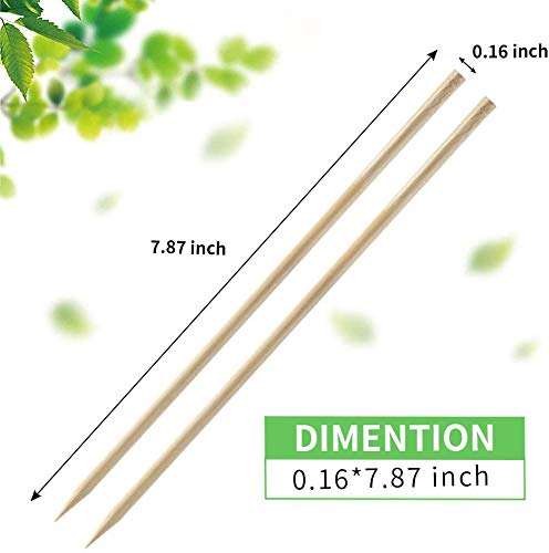Fu Store Bamboo Skewers 8 Inch Bamboo Sticks Shish Kabob SkewersGrill Appetizer Fruit Corn Chocolate Fountain CocktailSet of 100 Packwith Free 10 Pairs of Gloves 0 0