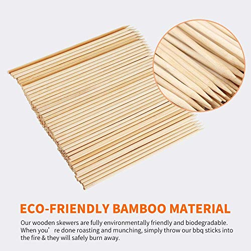 Fu Store Bamboo Skewers 8 Inch Bamboo Sticks Shish Kabob SkewersGrill Appetizer Fruit Corn Chocolate Fountain CocktailSet of 100 Packwith Free 10 Pairs of Gloves 0 1