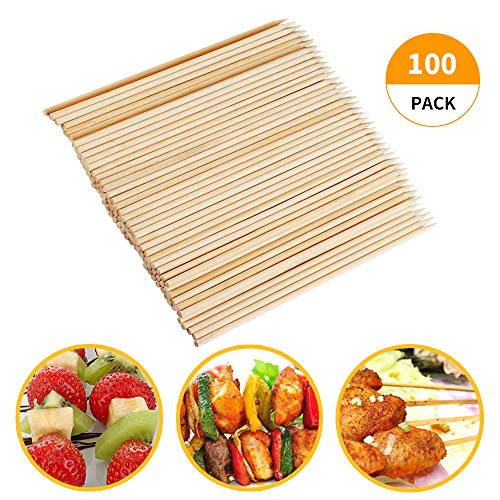 Fu Store Bamboo Skewers 8 Inch Bamboo Sticks Shish Kabob SkewersGrill Appetizer Fruit Corn Chocolate Fountain CocktailSet of 100 Packwith Free 10 Pairs of Gloves 0