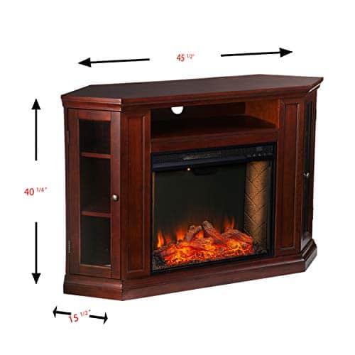 Furniture HotSpot Claremont Smart Corner Fireplace wStorage Cherry 0 4