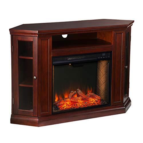 Furniture HotSpot Claremont Smart Corner Fireplace wStorage Cherry 0