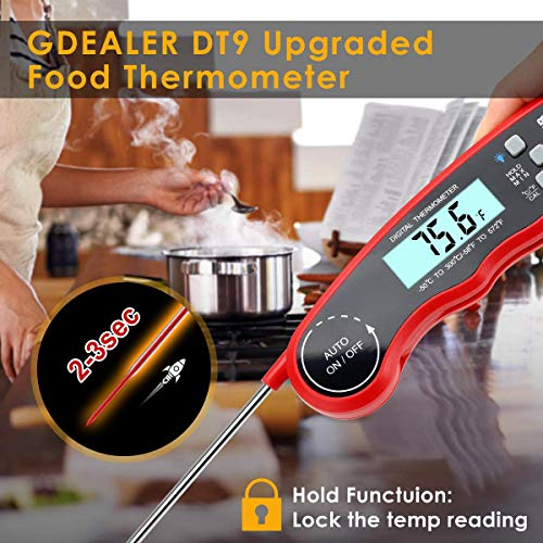 GDEALER DT09 Waterproof Digital Instant Read Meat Thermometer with 46 Folding Probe Calibration Function for Cooking Food Candy BBQ Grill Smokers 0 1