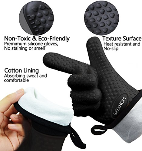 GEEKHOM Grilling Gloves Heat Resistant Gloves BBQ Kitchen Silicone Oven Mitts Long Waterproof Non Slip Potholder for Barbecue Cooking Baking Black 0 0