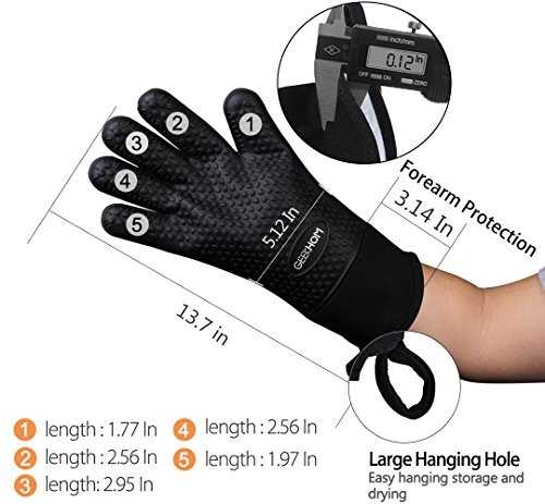 GEEKHOM Grilling Gloves Heat Resistant Gloves BBQ Kitchen Silicone Oven Mitts Long Waterproof Non Slip Potholder for Barbecue Cooking Baking Black 0 1