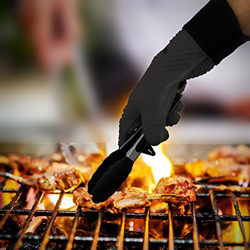 GEEKHOM Grilling Gloves Heat Resistant Gloves BBQ Kitchen Silicone Oven Mitts Long Waterproof Non Slip Potholder for Barbecue Cooking Baking Black 0 4