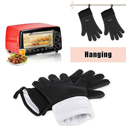 GEEKHOM Grilling Gloves Heat Resistant Gloves BBQ Kitchen Silicone Oven Mitts Long Waterproof Non Slip Potholder for Barbecue Cooking Baking Black 0 5