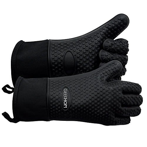 GEEKHOM Grilling Gloves Heat Resistant Gloves BBQ Kitchen Silicone Oven Mitts Long Waterproof Non Slip Potholder for Barbecue Cooking Baking Black 0