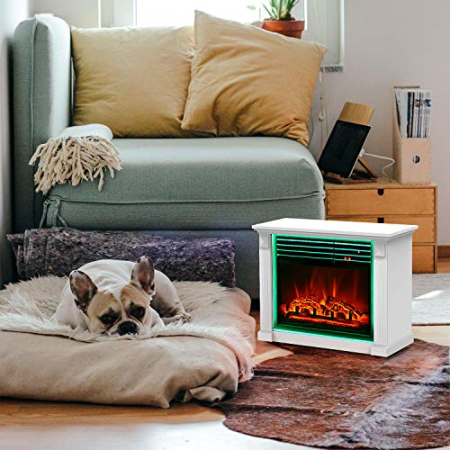 GMHome 23 Inches Electric Fireplace Freestanding Heater Moveable Electric Fireplace 7 Changeable Backlight Log Fuel Effect with Remote with Wheel 1500 W White 0 0