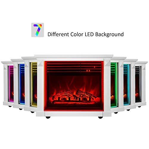 GMHome 23 Inches Electric Fireplace Freestanding Heater Moveable Electric Fireplace 7 Changeable Backlight Log Fuel Effect with Remote with Wheel 1500 W White 0 2