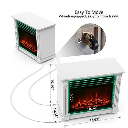 GMHome 23 Inches Electric Fireplace Freestanding Heater Moveable Electric Fireplace 7 Changeable Backlight Log Fuel Effect with Remote with Wheel 1500 W White 0 3