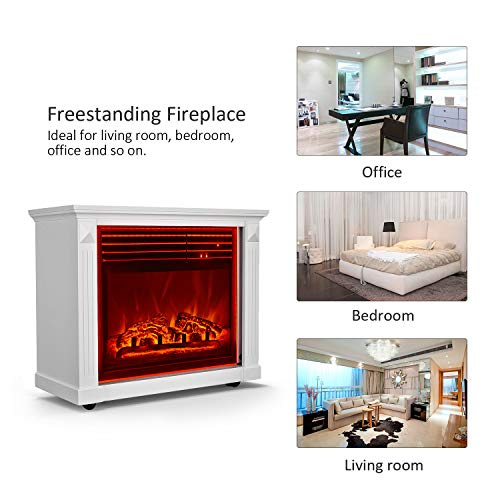 GMHome 23 Inches Electric Fireplace Freestanding Heater Moveable Electric Fireplace 7 Changeable Backlight Log Fuel Effect with Remote with Wheel 1500 W White 0 5