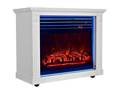 GMHome 23 Inches Electric Fireplace Freestanding Heater Moveable Electric Fireplace 7 Changeable Backlight Log Fuel Effect with Remote with Wheel 1500 W White 0
