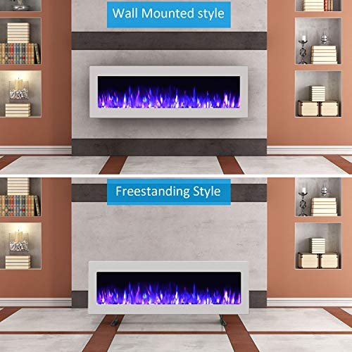 GMHome 40 Inches Wall Mounted Electric Fireplace Freestanding Heater Crystal Stone Flame Effect 9 Changeable Flame Color Fireplace with Remote 1500W Metal Panel White 0 4