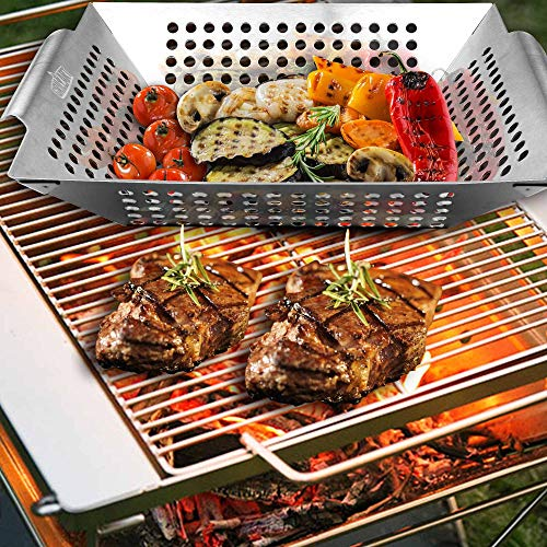 GRILLART Grill Basket for Vegetables Meat Large Grill WokPan for the Whole Family Heavy Duty Stainless Steel Veggie Grilling Basket Built to Last Best BBQ Accessories for All Grills Smokers 0 0