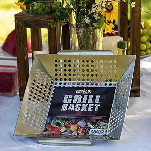 GRILLART Grill Basket for Vegetables Meat Large Grill WokPan for the Whole Family Heavy Duty Stainless Steel Veggie Grilling Basket Built to Last Best BBQ Accessories for All Grills Smokers 0 5