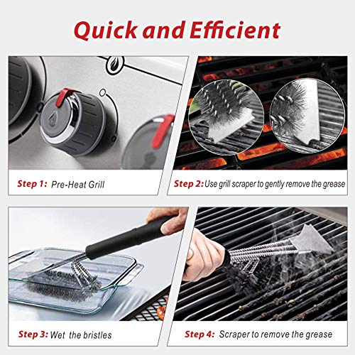 GRILLART Grill Brush and Scraper 18 Inch Wire Bristle Brush Double Scrapers Best Barbecue Cleaning Brush for Weber All GasCharcoal Grilling Grates Universal Fit BBQ Grill Accessories 0 3
