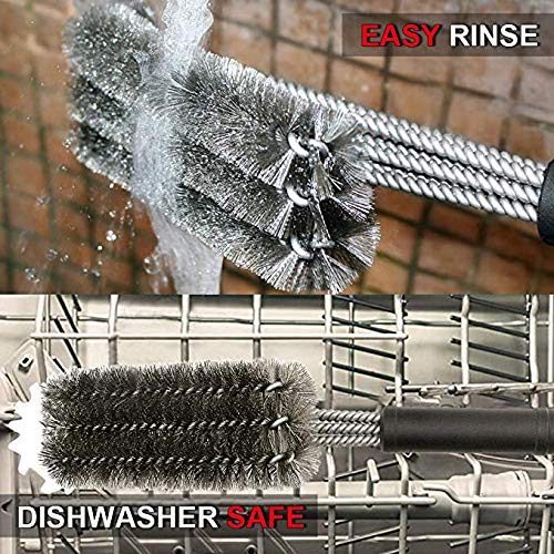 GRILLART Grill Brush and Scraper 18 Inch Wire Bristle Brush Double Scrapers Best Barbecue Cleaning Brush for Weber All GasCharcoal Grilling Grates Universal Fit BBQ Grill Accessories 0 4